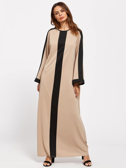 Contrast Panel Buttoned Keyhole Back Kaftan Dress