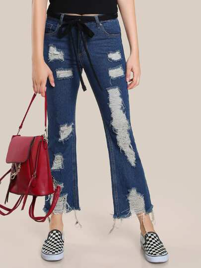 Distressed Frayed Hem Denim Pants DENIM