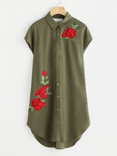 Flower Patch Ladder Strap Back Curve Shirt Dress