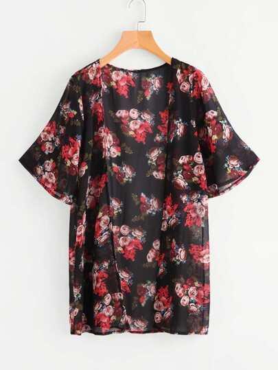 Allover Rose Print Beach Kimono