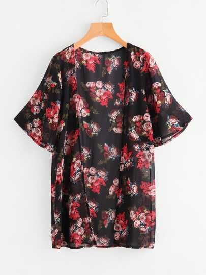 Strand Kimono mit Rosemuster