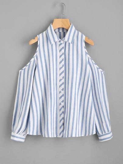 Contrast Striped Open Shoulder Shirt