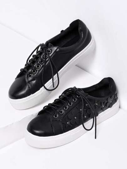 Flower Embellished Lace Up Faux Leather Sneakers