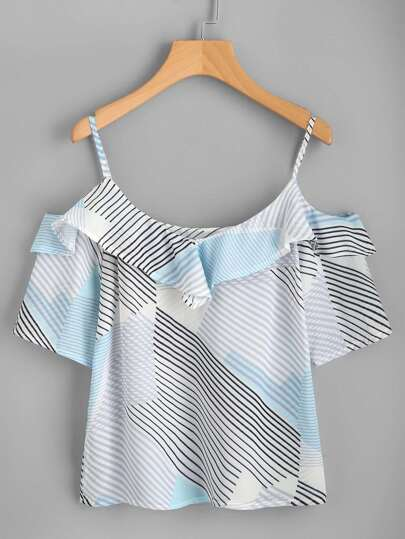 Abstract Print Frill Trim Top