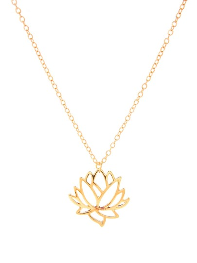 Hollow Lotus Pendant Chain Necklace