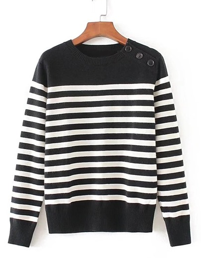 Contrast Striped Ribbed Trim Knitwear