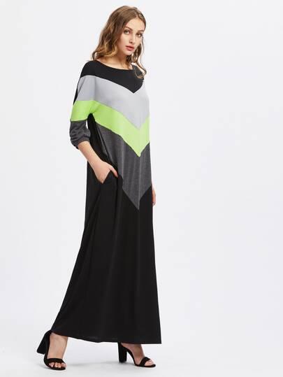 Vestido largo con costuras en contraste