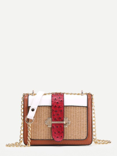 Knit Detail Color Block Chain Bag