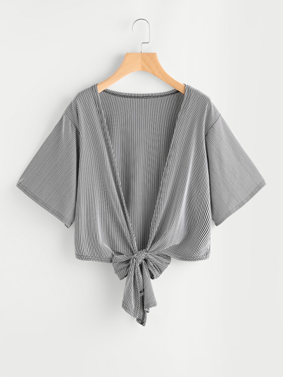 Pinstriped Knotted Hem Kimono