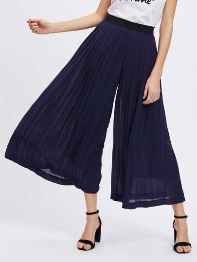 Contrast Waistband Pleated Culotte Pants