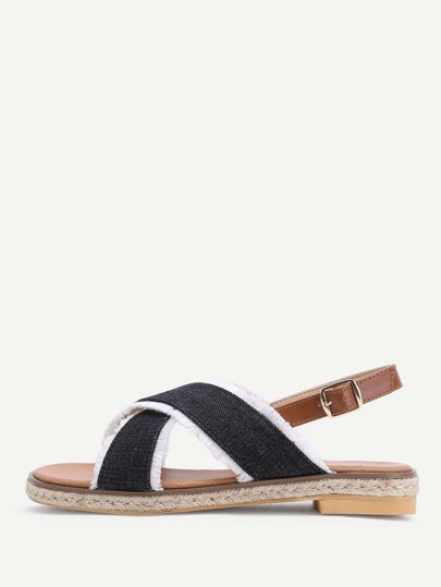 Contrast Trim Criss Cross Denim Flat Sandals