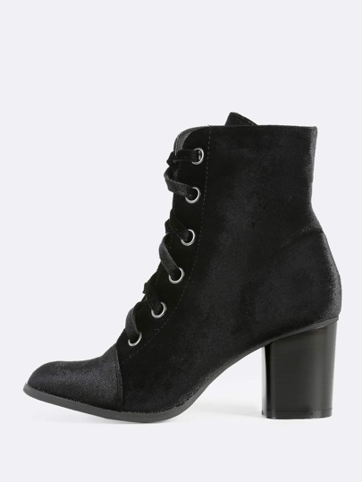 Velvet Eyelet Lace Up Booties BLACK