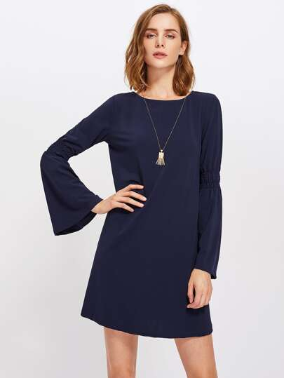 Shirred Fluted Sleeve Swing Dress
