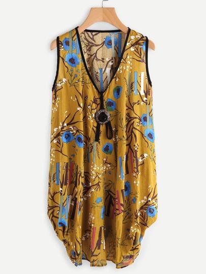 V Neckline Random Print Cocoon Dress