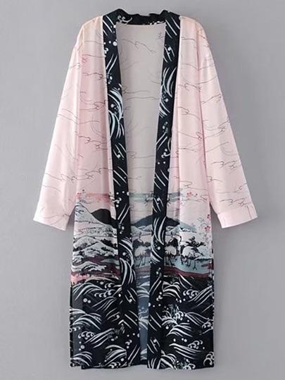 Kimono largo abierto en la parte delantera con abertura en la parte lateral