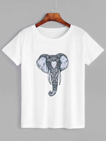 T-Shirt Stampa Elefante Maniche Corte - Bianco
