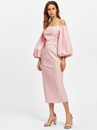Модное платье с открытыми плечами, рукав-фонарик