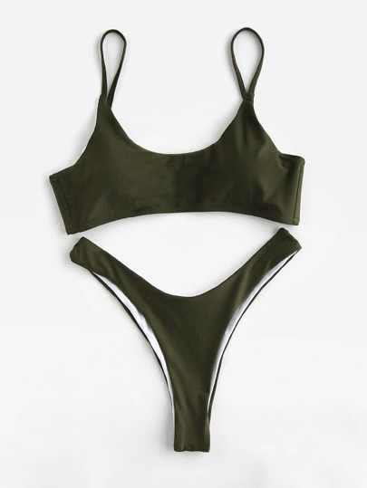 Army Green High Leg Bikini Set
