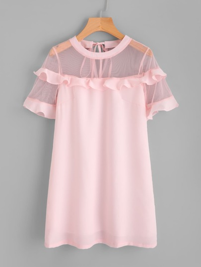 Mesh Shoulder And Sleeve Frill Detail Dress
