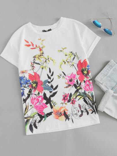 Botanical Print Drop Shoulder Cuffed Sleeve Top