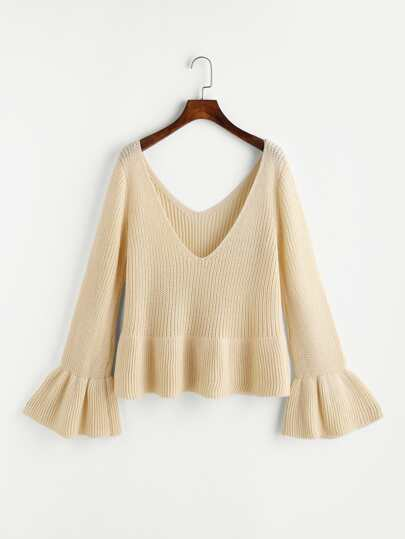 Double V Neck Fluted Sleeve Jumper