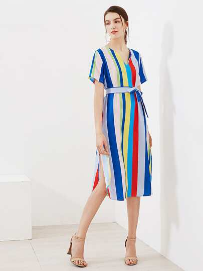 Rainbow Striped V Cut Slit Side Dress