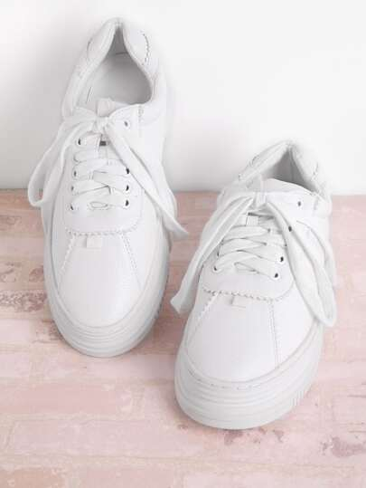 Zapatillas de deporte bajas de PU con cordones