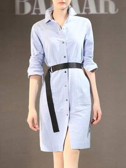 Lapel Belted Shirt Dress