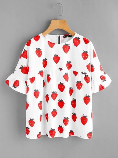 Ruffle Sleeve Strawberry Print Smock Tee