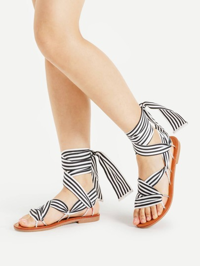 Striped Criss Cross Tie Leg Flat Sandals