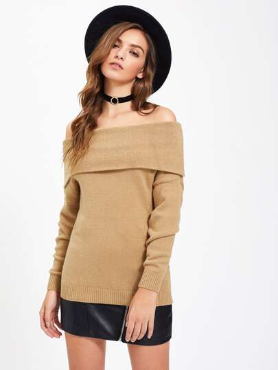 Foldover Off Shoulder Jumper