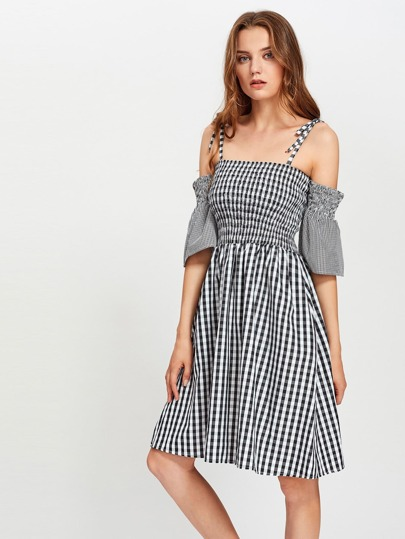 Shirred Gingham Swing Dress
