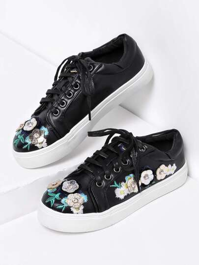 Flower Embellished Lace Up Plimsolls