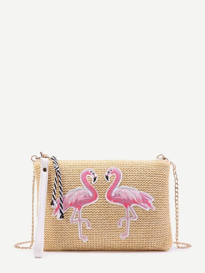 Flamingo Embroidery Straw Chain Bag