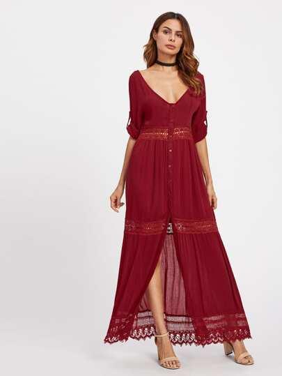 Kleid mit doppelten tiefen V-Ausschnitte,Schlitz vorn und Spitze Einsatz
