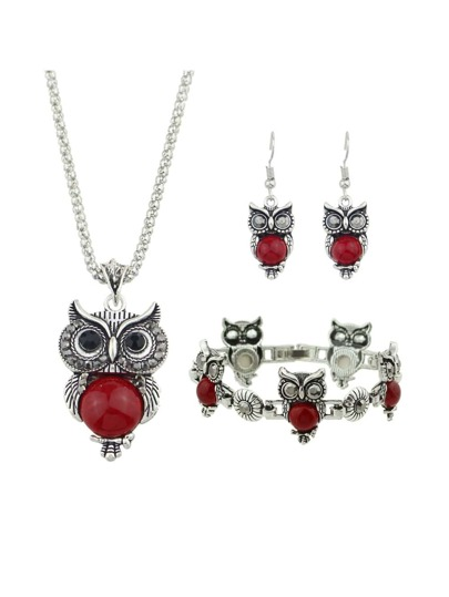 Red Color Antique Silver Imitation Turquoise Owl Shape Necklace Earrings Bracelet Set