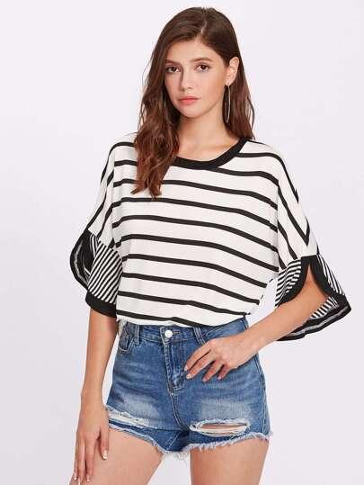 T-shirt a strisce con spalle scivolate