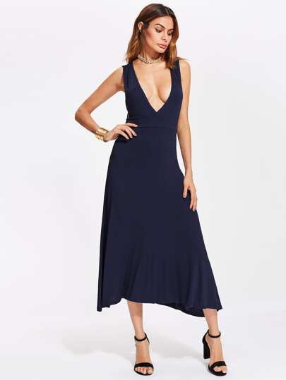 Double Plunge Neckline Low Side Dress