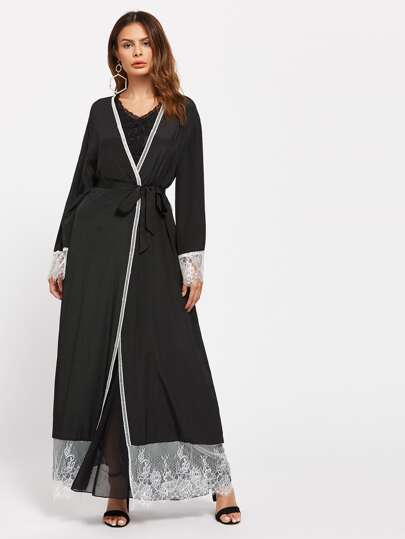 Self Tie Contrast Lace Trim Abaya