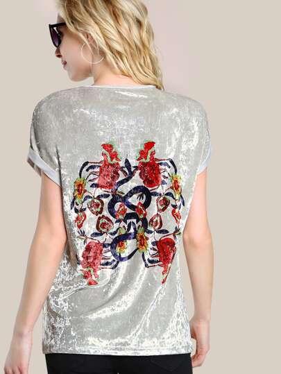 Tee-shirt imprimé des fleurs avec des replis