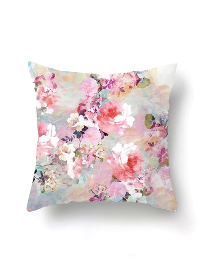 Funda de almohada con estampado de acuarela de flor
