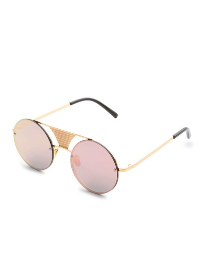 Double Bridge Rimless Round Sunglasses