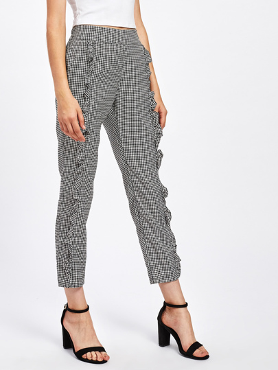Frill Trim Gingham Pants