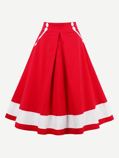 Contrast Panel Zipper Back Circle Skirt