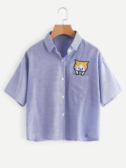 Cat Embroidery Vertical Striped Shirt