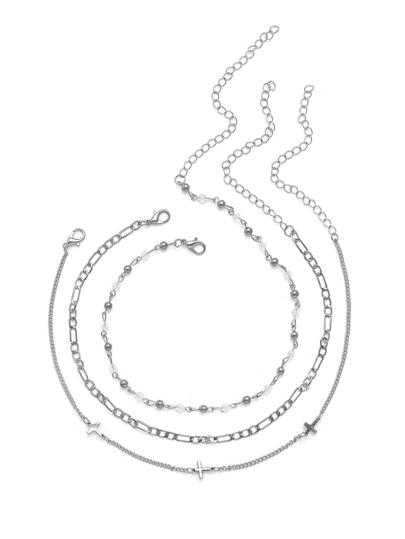 Cross & Beaded Design Chain Choker Set