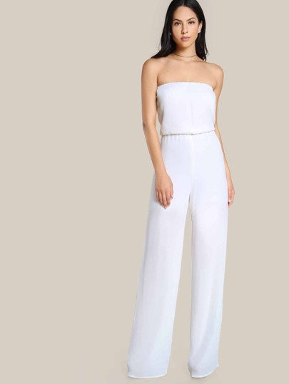 Strapless Solid Jumpsuit WHITE