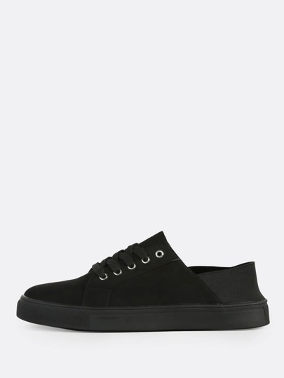 Lace Up Leather Elastic Sneakers BLACK