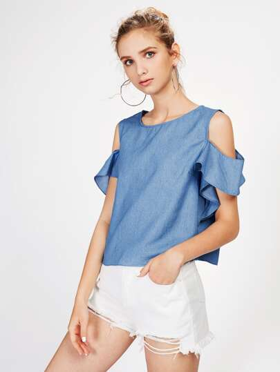Open Shoulder Frill Detail Chambray Top