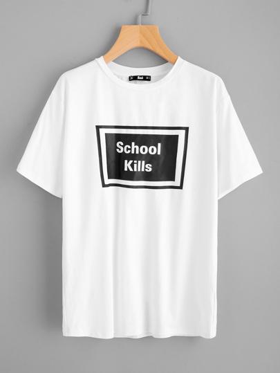 "T-shirt con stampa \""school kills\"""
